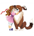 Cute Toddler Hugging a Dog vector image vector image