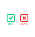 dos and donts marks like learning test vector image vector image