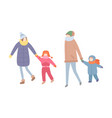 family spending time winter seasonal activity vector image vector image