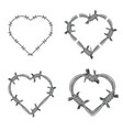 frame heart barbed wire set vector image vector image