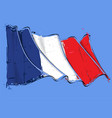 french artistic brush stroke waving flag vector image vector image