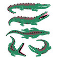 funny set of crocodile icons vector image