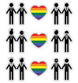 Gay man grooms icon set with rainbow element vector image vector image