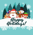 happy holidays greeting card poster vector image vector image