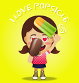 happy woman holding big frozen popsicle vector image vector image