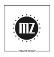 initial letter mz logo template design vector image vector image