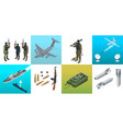 isometric icons submarine aircraft soldiers set vector image vector image