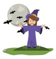 kid and halloween cartoon vector image