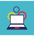 laptop computer with social media icon vector image vector image