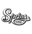 lettering springtime come glossy black white text vector image vector image
