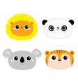 lion koala panda bear tiger round face head icon vector image vector image