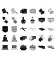 logistics and delivery blackmonochrome icons in vector image vector image