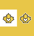 love maple leaf logo icon sign isolated on an vector image