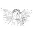 man and woman fairies kiss vector image vector image