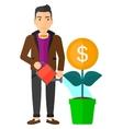 Man watering money flower vector image