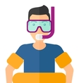 Man with swimming equipment vector image vector image