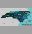 map state north carolina usa vector image vector image