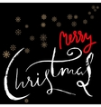 Merry Christmas red and white lettering design on vector image vector image