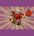 santa claus rides on deer vector image