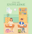 school knowledge pupils writing in notebook study vector image vector image
