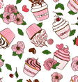 seamless pattern cupcakes and flowers vector image