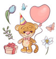 set a little tiger with a balloon hand drawing vector image vector image