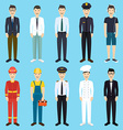 set colorful profession man flat style icons vector image vector image