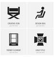 set of 4 editable cinema icons includes symbols vector image vector image