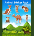 set wild animal sticker vector image vector image