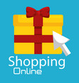 shopping online with gift box vector image