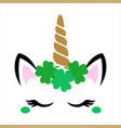 st patricks day unicorn face cute clipart vector image vector image