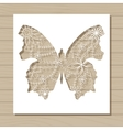 stencil template of butterfly on wooden background vector image vector image