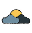 sun and cloud symbol vector image vector image
