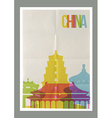 Travel China landmarks skyline vintage poster vector image