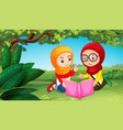 two muslim girls reading book in park vector image vector image
