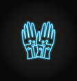 wired gloves icon in glowing neon style vector image vector image