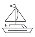 yacht thin line icon transportation and boat vector image