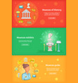 museum banner set template cartoon style vector image