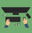top view of modern business office desk vector image
