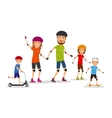 Sports family Mom dad and kids roller skate vector image