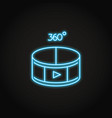 360 degree video concept icon in neon style vector image vector image