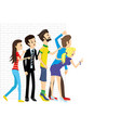 a group people peeking out vector image