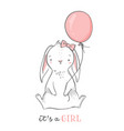 baby shower card it s a girl pink bunny vector image