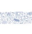 banner with hands of designer working in digital vector image
