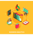 Business Analytics Isometric Round Composition vector image vector image
