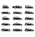 car icon side view set black silhouette vector image
