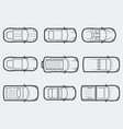 cars in outline style tom view vector image