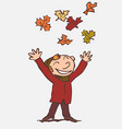child throwing in the air funny autumn leaves vector image vector image
