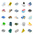 city administration icons set isometric style vector image vector image