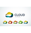Cloud logo design made of color pieces vector image